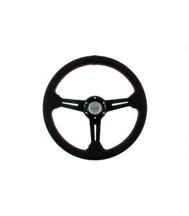 Sportinis vairas Pro 350mm išnešimas:40mm , odinis,  (juodas)