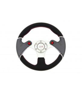 Sportinis vairas Pro 320mm išnešimas:0mm , odinis,  (juodas)