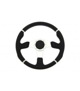 Sportinis vairas Pro 350mm išnešimas:0mm , odinis,  (juodas)