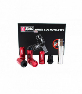 Racing lug nuts D1Spec Heptagon 2in1 12x1.25 Red