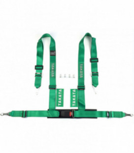 "Racing seat belts 4p 2"" Green - Takata Replica"